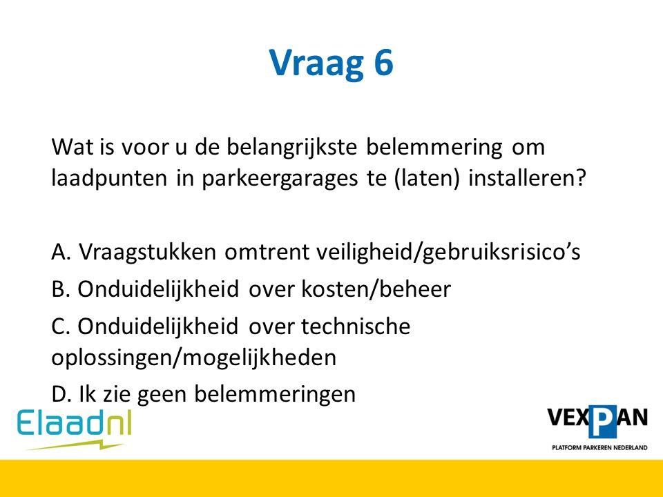 Vraag 6 Wat is voor u de belangrijkste belemmering om laadpunten in parkeergarages te (laten) installeren? A. Vraagstukken omtrent veiligheid/gebruiks