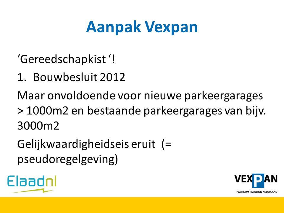 Aanpak Vexpan 'Gereedschapkist '! 1.Bouwbesluit 2012 Maar onvoldoende voor nieuwe parkeergarages > 1000m2 en bestaande parkeergarages van bijv. 3000m2