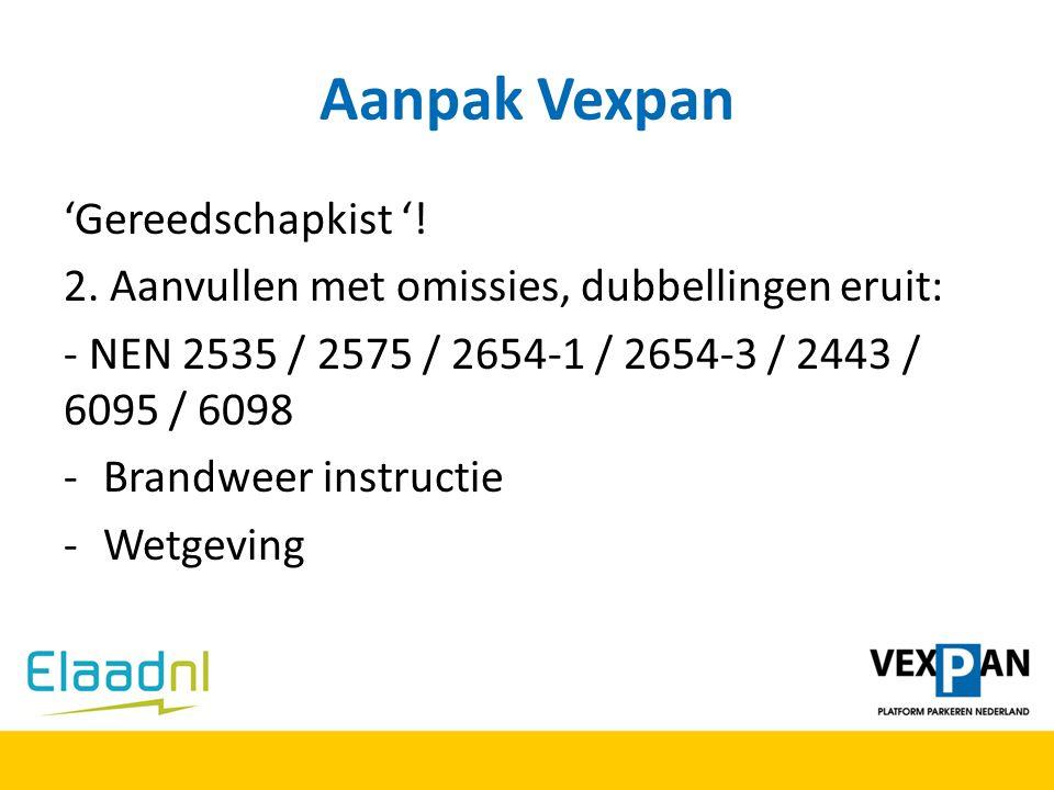 Aanpak Vexpan 'Gereedschapkist '! 2. Aanvullen met omissies, dubbellingen eruit: - NEN 2535 / 2575 / 2654-1 / 2654-3 / 2443 / 6095 / 6098 -Brandweer i