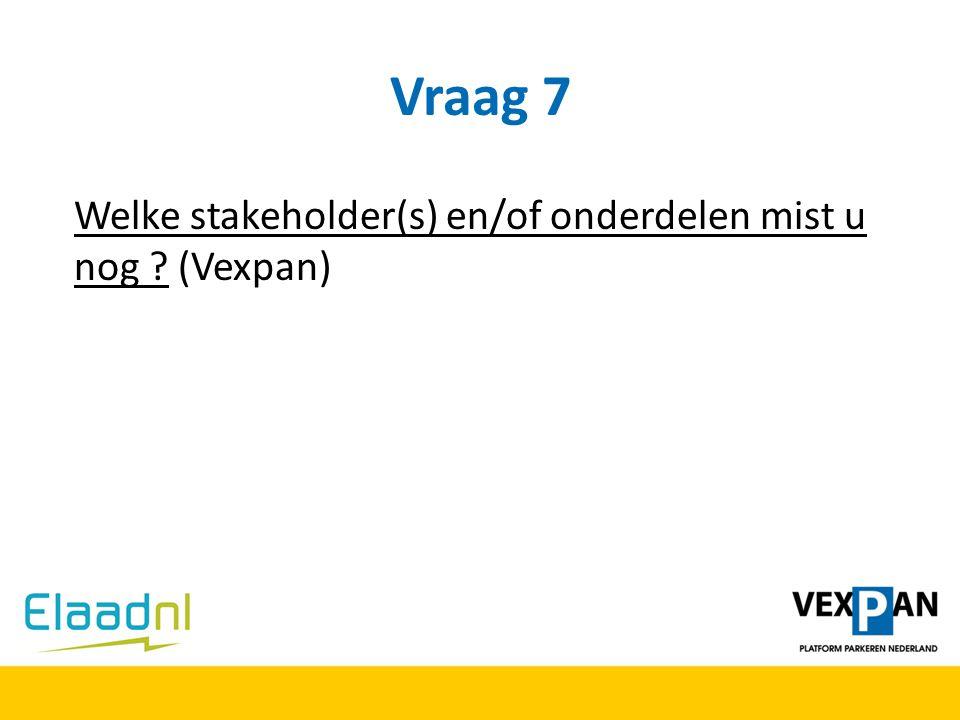Vraag 7 Welke stakeholder(s) en/of onderdelen mist u nog ? (Vexpan)