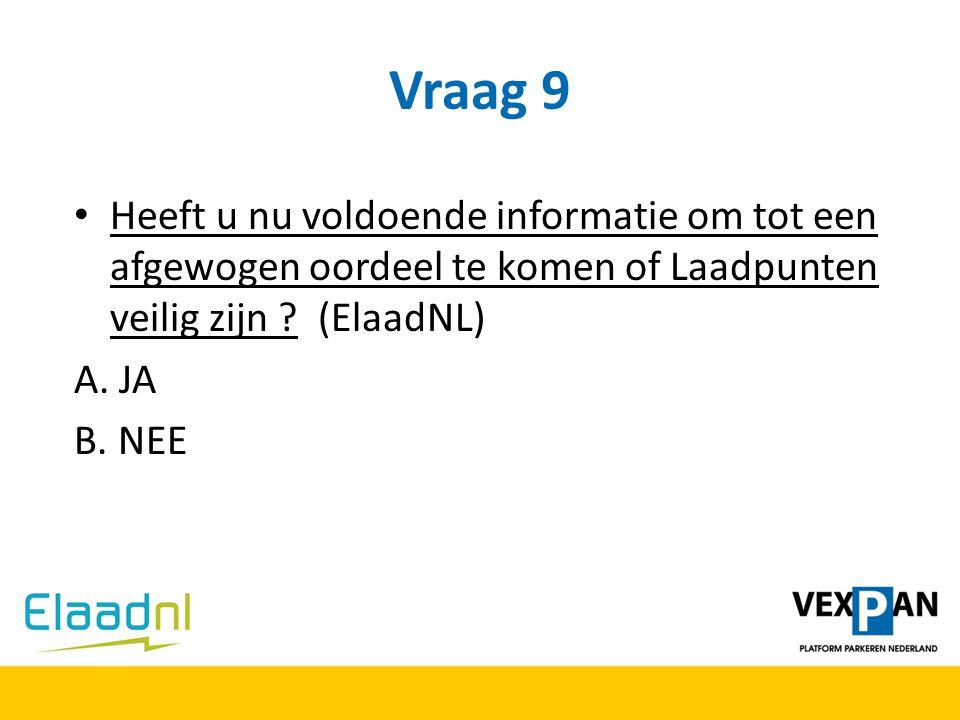 Vraag 9 Heeft u nu voldoende informatie om tot een afgewogen oordeel te komen of Laadpunten veilig zijn ? (ElaadNL) A. JA B. NEE