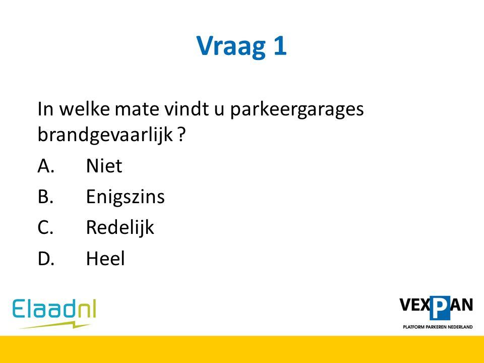 Vraag 1 In welke mate vindt u parkeergarages brandgevaarlijk ? A. Niet B. Enigszins C. Redelijk D. Heel