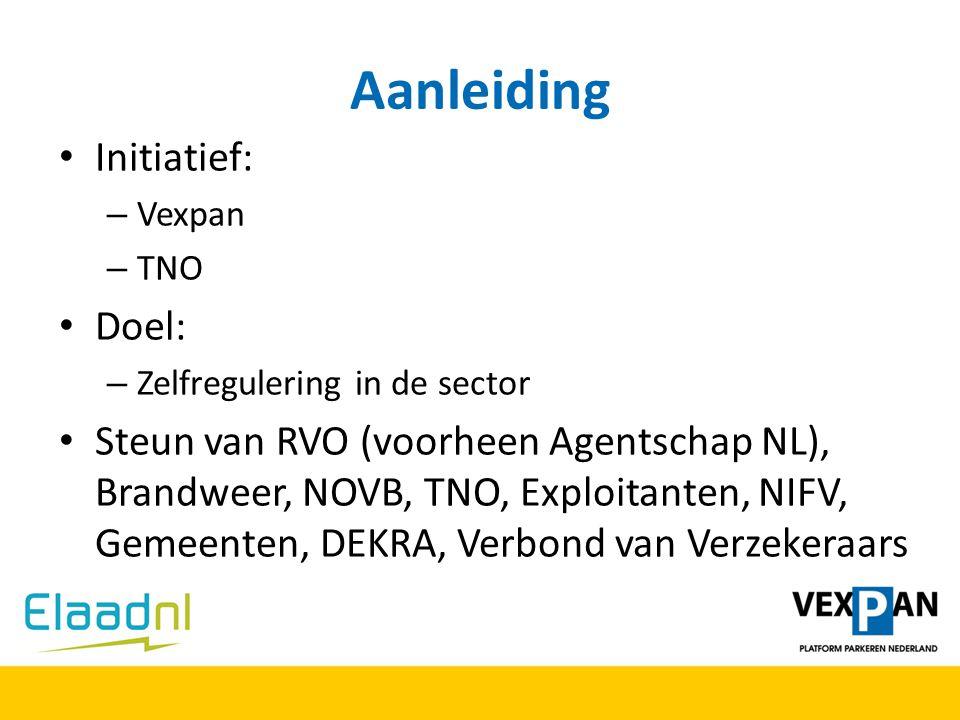 Aanleiding Initiatief: – Vexpan – TNO Doel: – Zelfregulering in de sector Steun van RVO (voorheen Agentschap NL), Brandweer, NOVB, TNO, Exploitanten,
