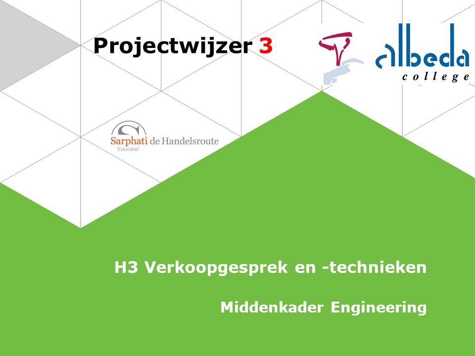 Projectwijzer 3 H3 Verkoopgesprek en -technieken Middenkader Engineering