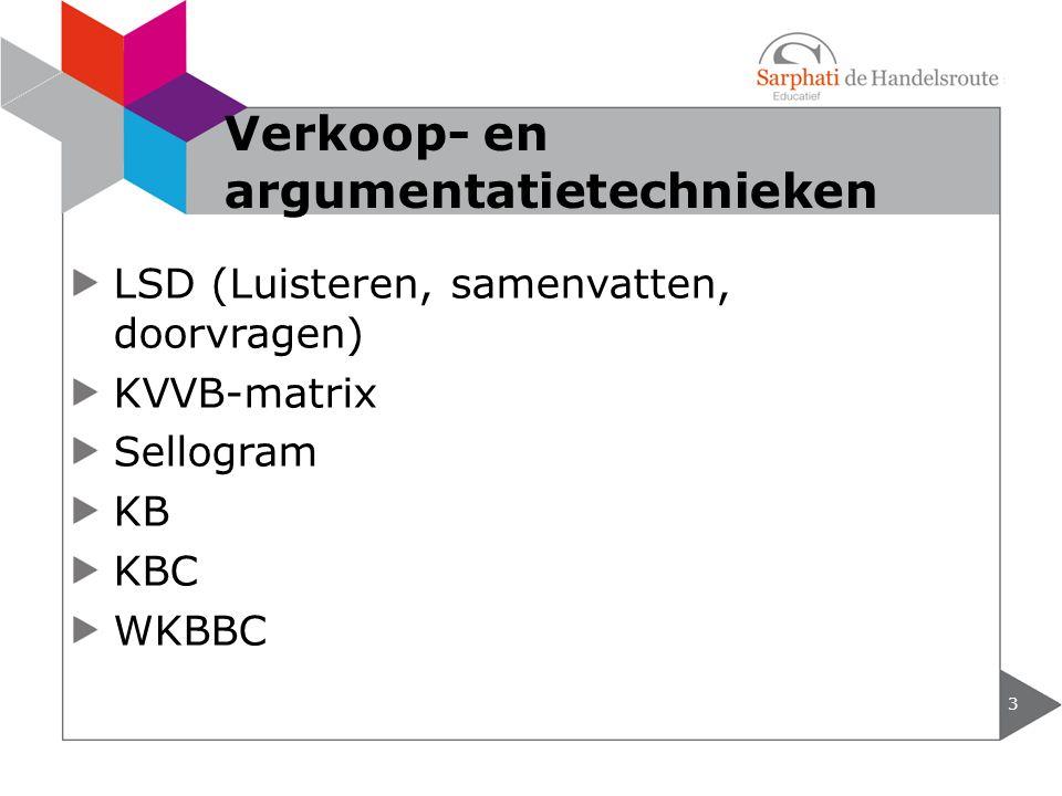 LSD (Luisteren, samenvatten, doorvragen) KVVB-matrix Sellogram KB KBC WKBBC 3 Verkoop- en argumentatietechnieken