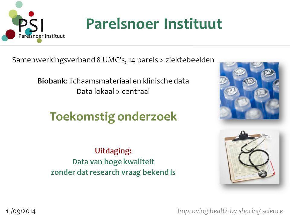 Improving health by sharing science Data – eerste aanpak Datamodel (Parelsnoer Informatie Model) > Data definities, verplichtheden, consistency, coderingen, etc.