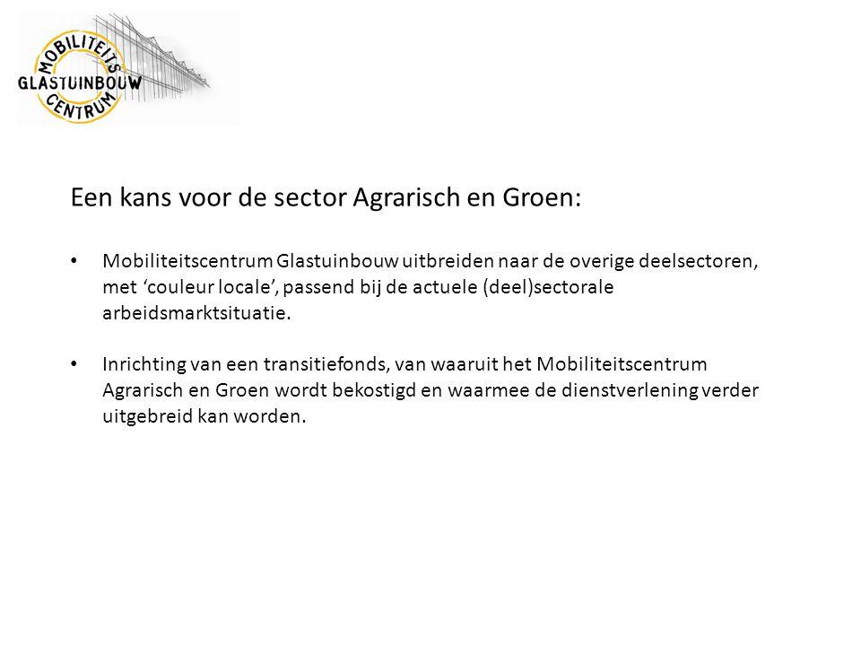 Een kans voor de sector Agrarisch en Groen: Mobiliteitscentrum Glastuinbouw uitbreiden naar de overige deelsectoren, met 'couleur locale', passend bij de actuele (deel)sectorale arbeidsmarktsituatie.