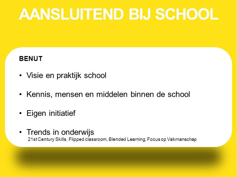 BENUT Visie en praktijk school Kennis, mensen en middelen binnen de school Eigen initiatief Trends in onderwijs 21st Century Skills, Flipped classroom