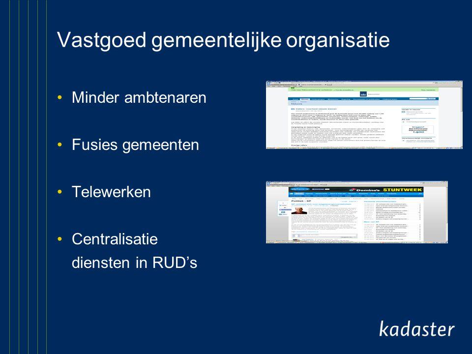 Vastgoed gemeentelijke organisatie Minder ambtenaren Fusies gemeenten Telewerken Centralisatie diensten in RUD's
