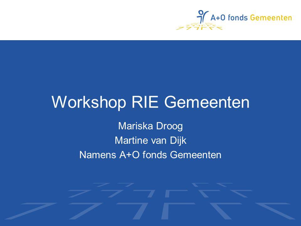 Workshop RIE Gemeenten Mariska Droog Martine van Dijk Namens A+O fonds Gemeenten