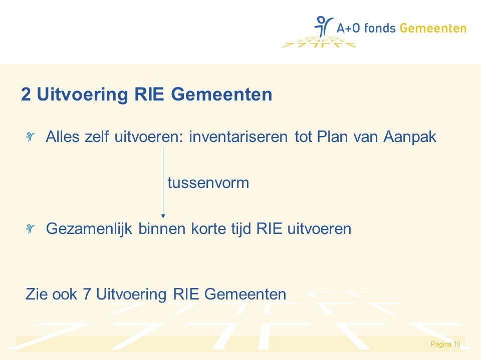 Pagina 10 2 Uitvoering RIE Gemeenten Alles zelf uitvoeren: inventariseren tot Plan van Aanpak tussenvorm Gezamenlijk binnen korte tijd RIE uitvoeren Z