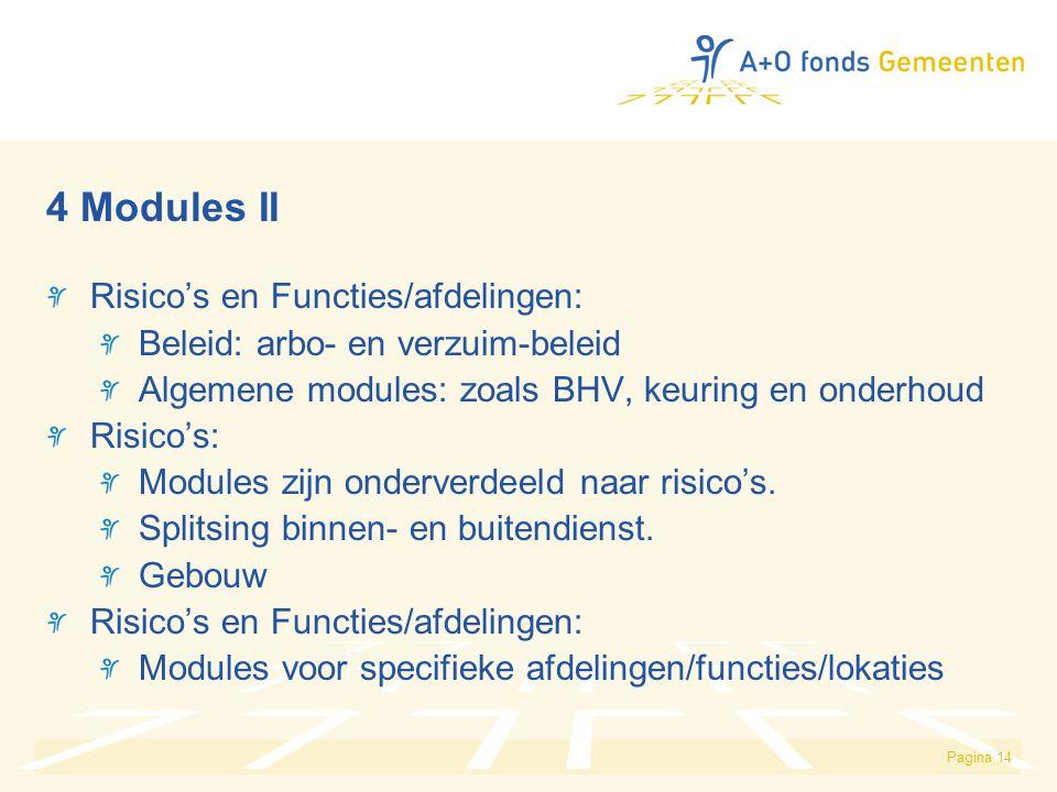 Pagina 14 4 Modules II Risico's en Functies/afdelingen: Beleid: arbo- en verzuim-beleid Algemene modules: zoals BHV, keuring en onderhoud Risico's: Modules zijn onderverdeeld naar risico's.