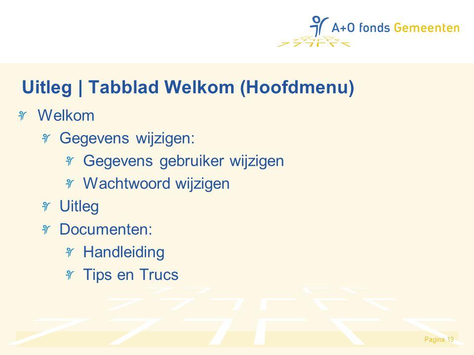 Pagina 19 Uitleg | Tabblad Welkom (Hoofdmenu) Welkom Gegevens wijzigen: Gegevens gebruiker wijzigen Wachtwoord wijzigen Uitleg Documenten: Handleiding Tips en Trucs