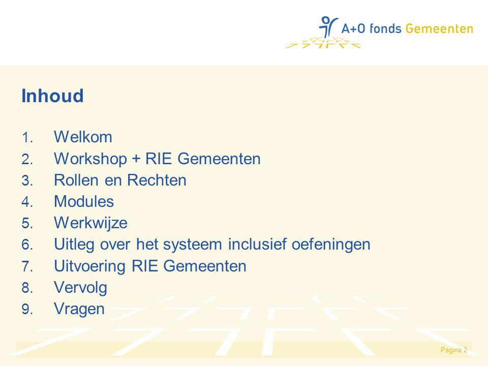 Pagina 2 Inhoud 1. Welkom 2. Workshop + RIE Gemeenten 3. Rollen en Rechten 4. Modules 5. Werkwijze 6. Uitleg over het systeem inclusief oefeningen 7.