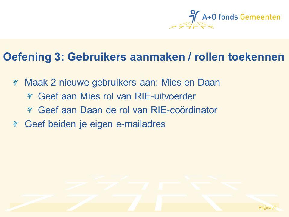 Pagina 25 Oefening 3: Gebruikers aanmaken / rollen toekennen Maak 2 nieuwe gebruikers aan: Mies en Daan Geef aan Mies rol van RIE-uitvoerder Geef aan Daan de rol van RIE-coördinator Geef beiden je eigen e-mailadres