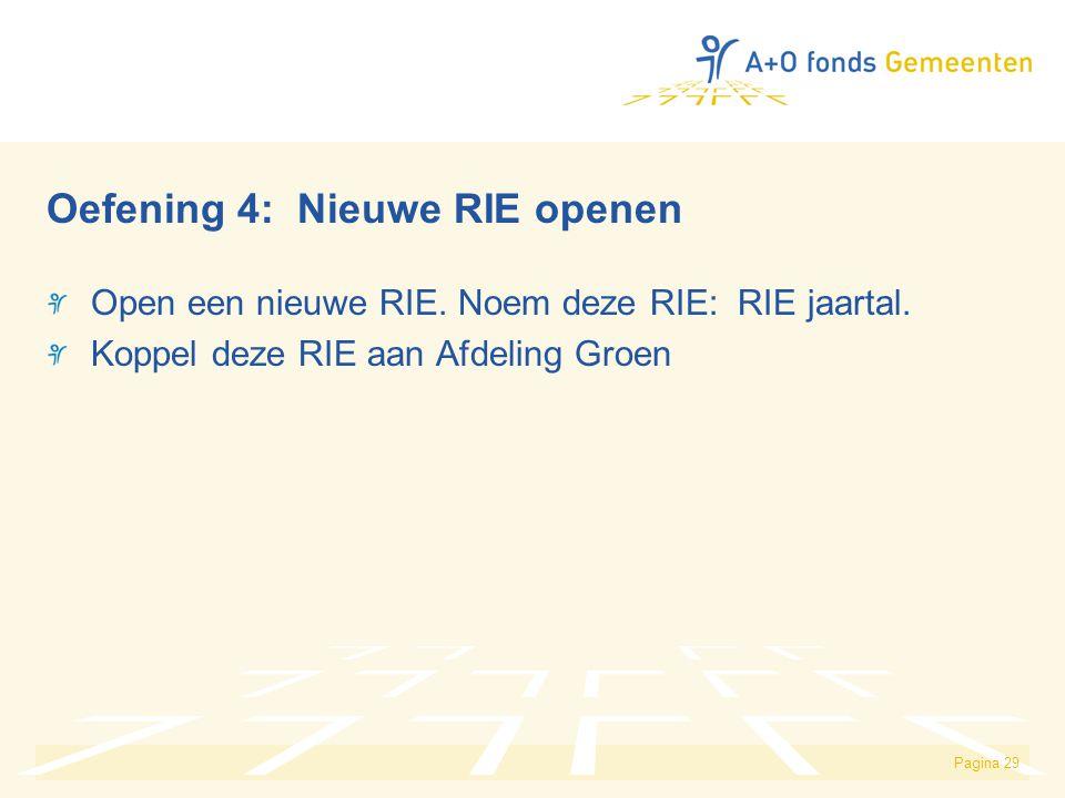 Pagina 29 Oefening 4: Nieuwe RIE openen Open een nieuwe RIE. Noem deze RIE: RIE jaartal. Koppel deze RIE aan Afdeling Groen