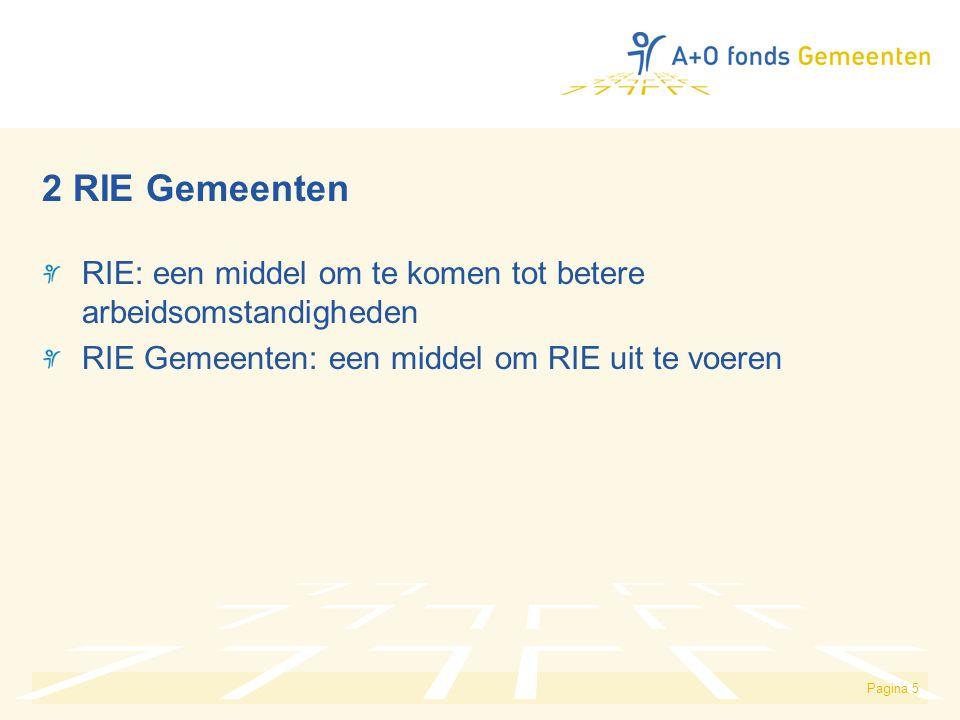 Pagina 5 2 RIE Gemeenten RIE: een middel om te komen tot betere arbeidsomstandigheden RIE Gemeenten: een middel om RIE uit te voeren