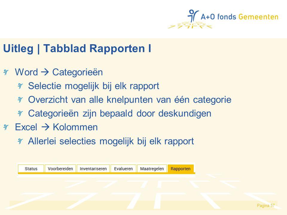 Pagina 57 Uitleg | Tabblad Rapporten I Word  Categorieën Selectie mogelijk bij elk rapport Overzicht van alle knelpunten van één categorie Categorieë