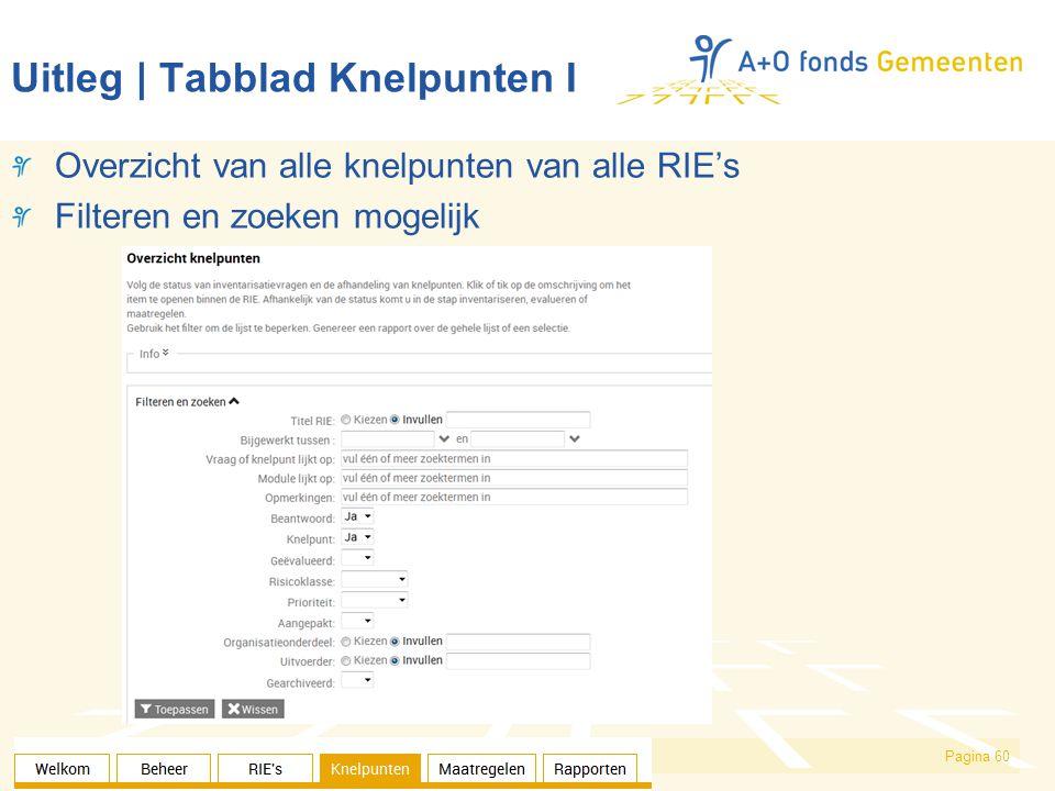 Pagina 60 Uitleg | Tabblad Knelpunten I Overzicht van alle knelpunten van alle RIE's Filteren en zoeken mogelijk