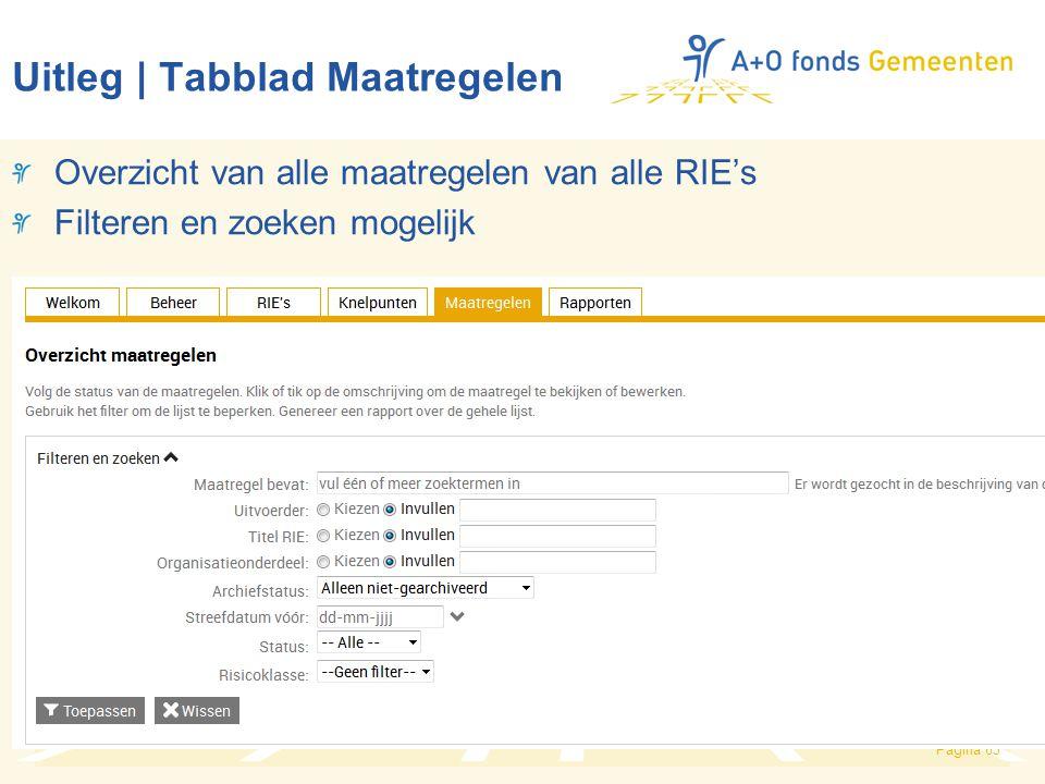 Pagina 63 Uitleg | Tabblad Maatregelen Overzicht van alle maatregelen van alle RIE's Filteren en zoeken mogelijk