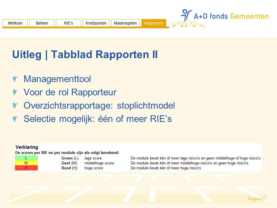 Pagina 67 Uitleg | Tabblad Rapporten II Managementtool Voor de rol Rapporteur Overzichtsrapportage: stoplichtmodel Selectie mogelijk: één of meer RIE's