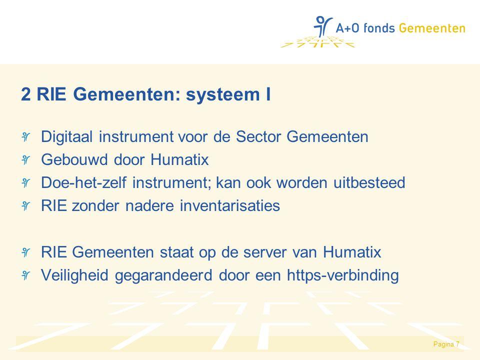 Pagina 7 2 RIE Gemeenten: systeem I Digitaal instrument voor de Sector Gemeenten Gebouwd door Humatix Doe-het-zelf instrument; kan ook worden uitbeste