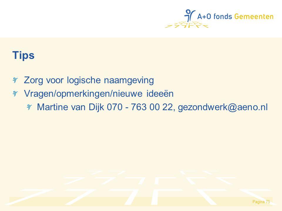 Pagina 75 Tips Zorg voor logische naamgeving Vragen/opmerkingen/nieuwe ideeën Martine van Dijk 070 - 763 00 22, gezondwerk@aeno.nl
