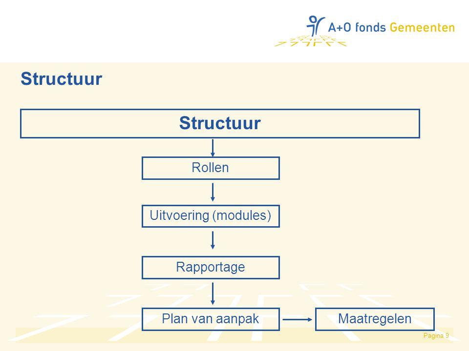 Pagina 9 Structuur Rollen Plan van aanpak Uitvoering (modules) Rapportage Maatregelen Structuur