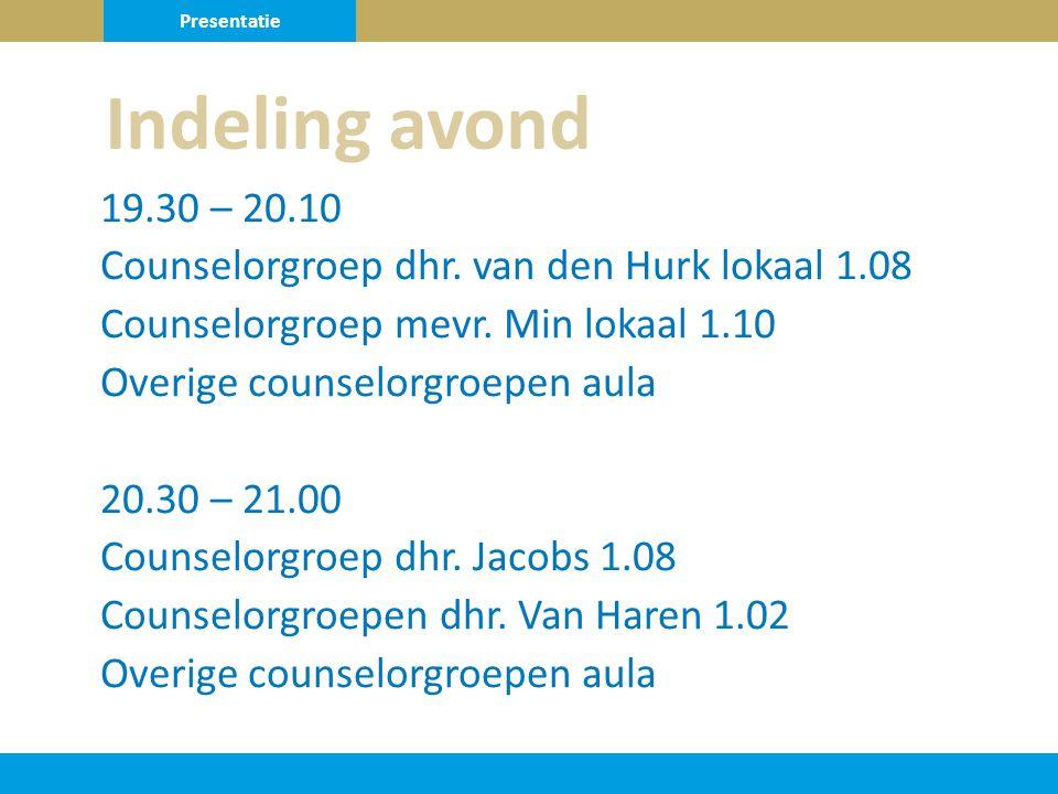 19.30 – 20.10 Counselorgroep dhr. van den Hurk lokaal 1.08 Counselorgroep mevr.