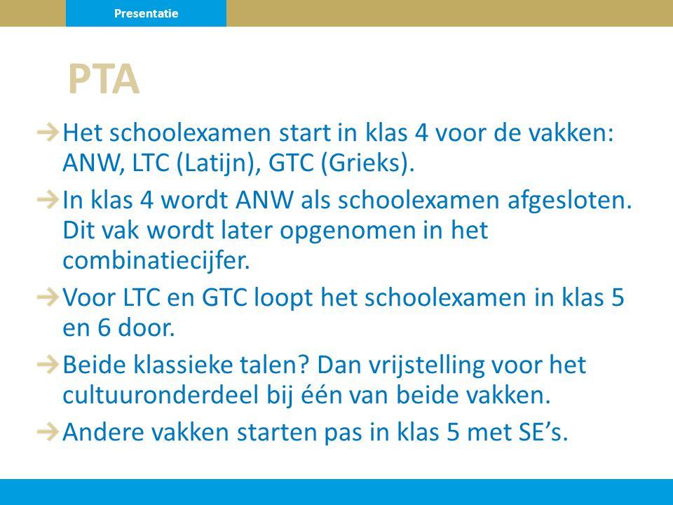 Het schoolexamen start in klas 4 voor de vakken: ANW, LTC (Latijn), GTC (Grieks).