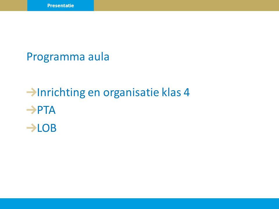 Programma aula Inrichting en organisatie klas 4 PTA LOB Presentatie