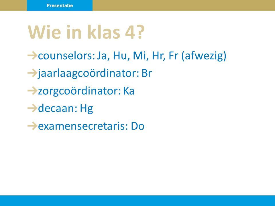 counselors: Ja, Hu, Mi, Hr, Fr (afwezig) jaarlaagcoördinator: Br zorgcoördinator: Ka decaan: Hg examensecretaris: Do Wie in klas 4.