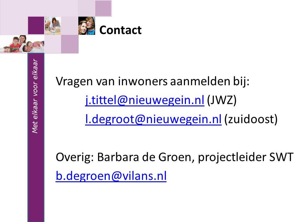 Met elkaar voor elkaar Vragen van inwoners aanmelden bij: j.tittel@nieuwegein.nlj.tittel@nieuwegein.nl (JWZ) l.degroot@nieuwegein.nll.degroot@nieuwege
