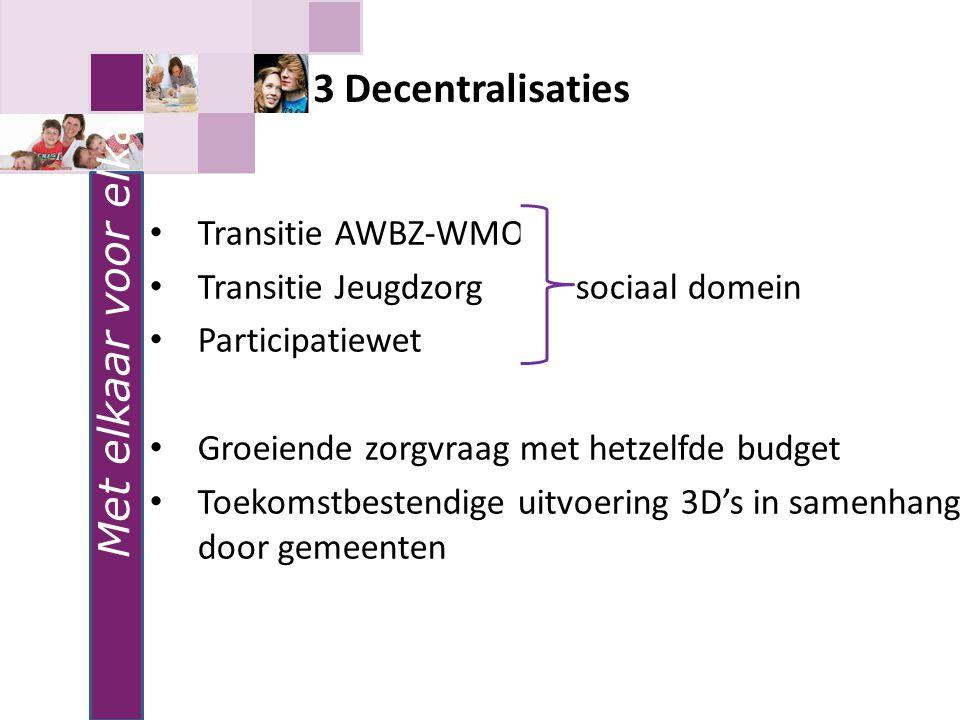 Met elkaar voor elkaar 3 Decentralisaties Transitie AWBZ-WMO Transitie Jeugdzorg sociaal domein Participatiewet Groeiende zorgvraag met hetzelfde budg