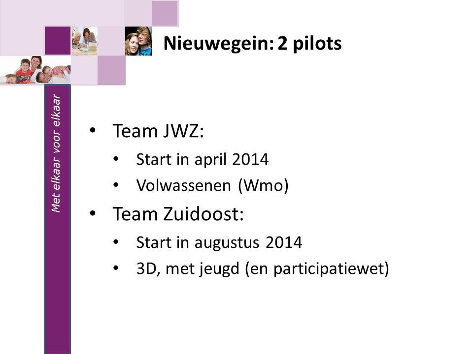 Met elkaar voor elkaar Nieuwegein: 2 pilots Team JWZ: Start in april 2014 Volwassenen (Wmo) Team Zuidoost: Start in augustus 2014 3D, met jeugd (en pa