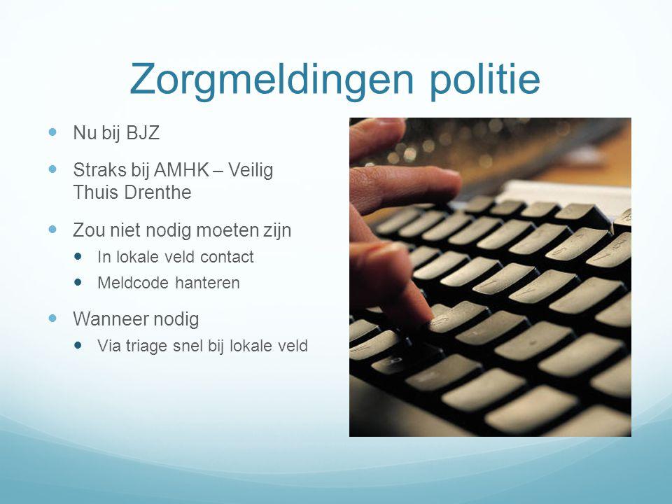 Zorgmeldingen politie Nu bij BJZ Straks bij AMHK – Veilig Thuis Drenthe Zou niet nodig moeten zijn In lokale veld contact Meldcode hanteren Wanneer no