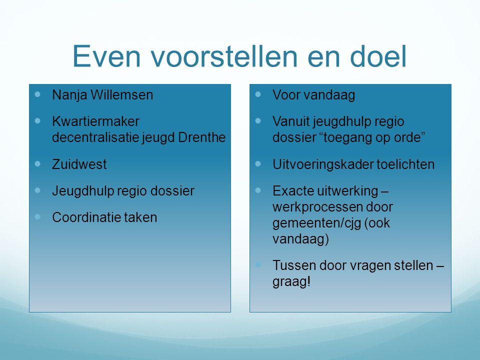 Even voorstellen en doel Nanja Willemsen Kwartiermaker decentralisatie jeugd Drenthe Zuidwest Jeugdhulp regio dossier Coordinatie taken Voor vandaag V