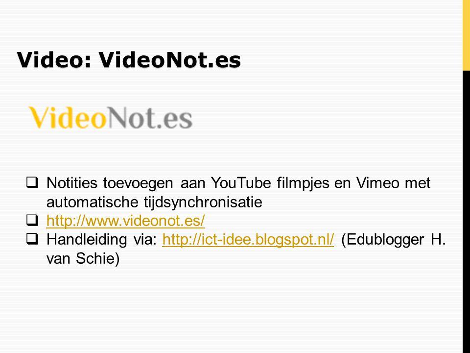 Video: VideoNot.es  Notities toevoegen aan YouTube filmpjes en Vimeo met automatische tijdsynchronisatie  http://www.videonot.es/ http://www.videono