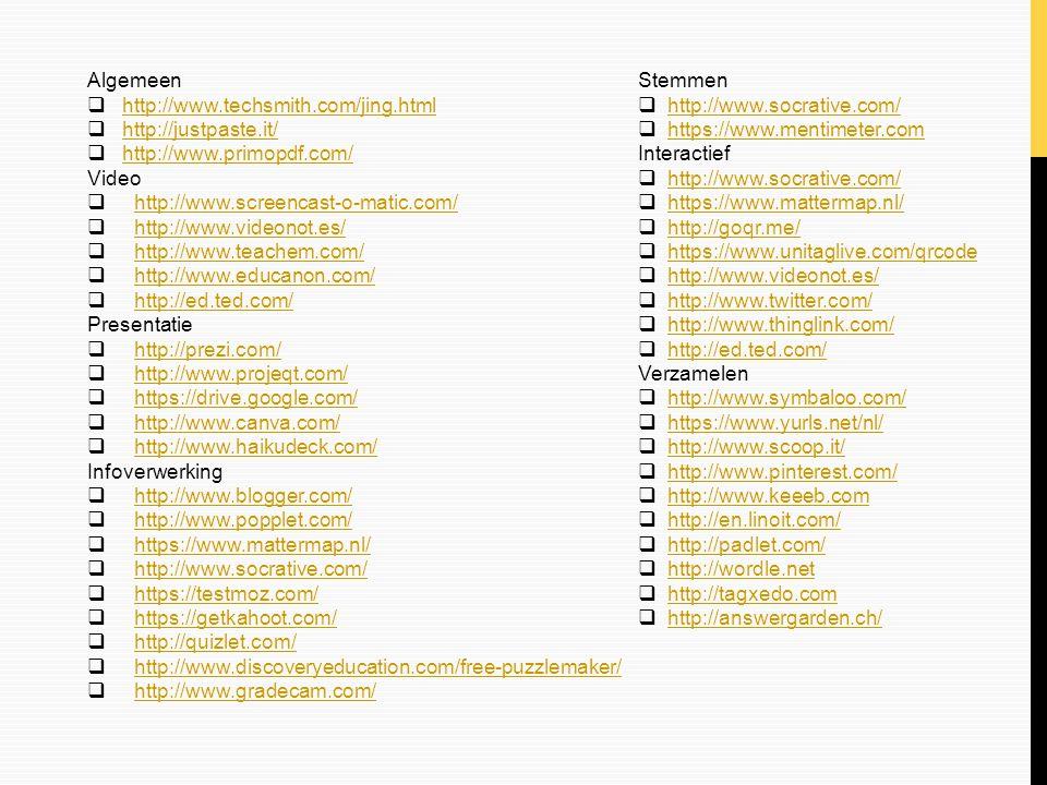 Verzamelen: Woordwolk  Visueel geordende groep woorden  Via Wordle http://www.wordle.net/http://www.wordle.net/  Print als pdf na installatie PrimoPDF  Of Tagxedo* http://www.tagxedo.com/http://www.tagxedo.com/  Woordwolk direct op te slaan, te printen en te delen *