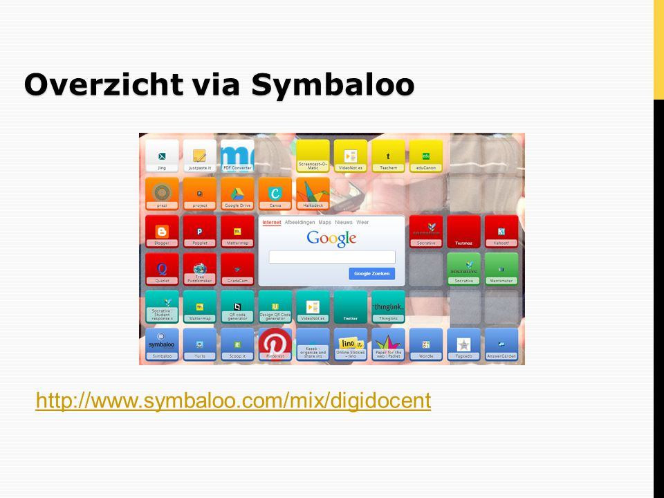 Infoverwerking: Quizlet  Leren met flashcards (tests, spelletje, scatter – soort memory)  Voorlezen flashcards (switchen tussen bekende talen, ook NL), afbeeldingen invoegen enkel na upgrade  http://quizlet.com/ http://quizlet.com/  Demo via filmpjefilmpje