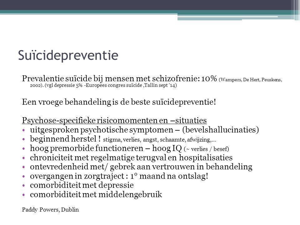 Suïcidepreventie Prevalentie suïcide bij mensen met schizofrenie: 10% (Wampers, De Hert, Peuskens, 2002). ( vgl depressie 5% -Europees congres suïcide