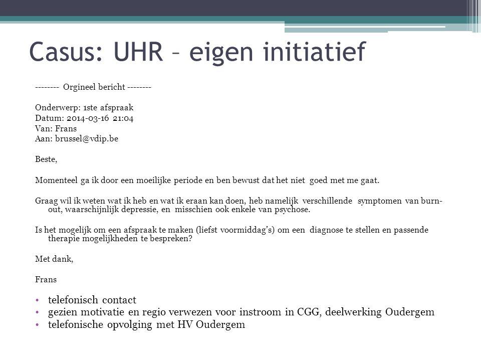 Casus: UHR – eigen initiatief -------- Orgineel bericht -------- Onderwerp: 1ste afspraak Datum: 2014-03-16 21:04 Van: Frans Aan: brussel@vdip.be Best
