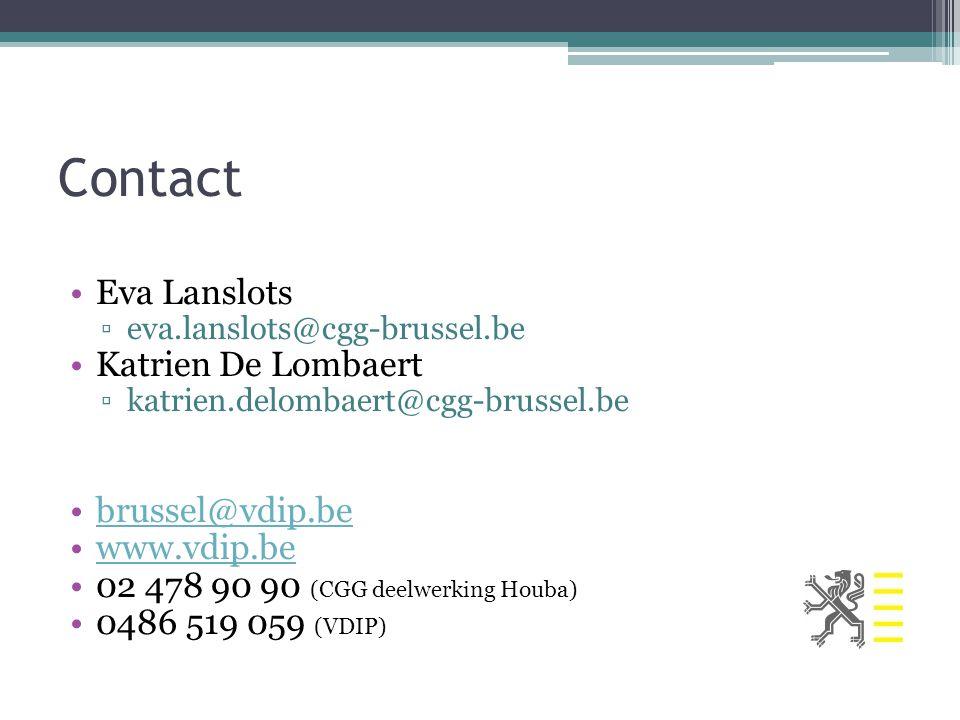 Contact Eva Lanslots ▫eva.lanslots@cgg-brussel.be Katrien De Lombaert ▫katrien.delombaert@cgg-brussel.be brussel@vdip.be www.vdip.be 02 478 90 90 (CGG