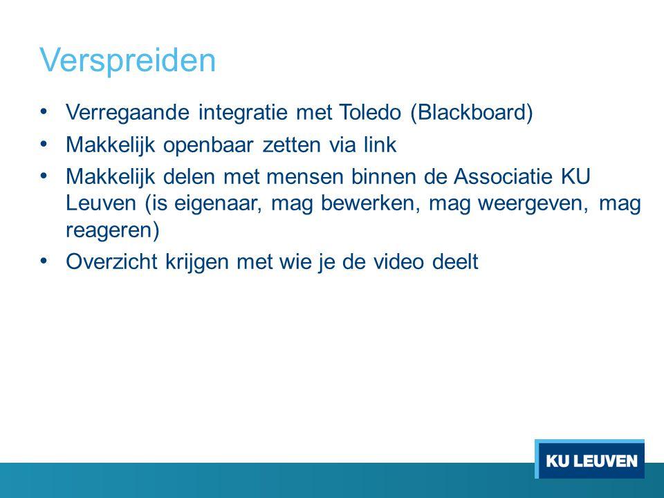 Verspreiden Verregaande integratie met Toledo (Blackboard) Makkelijk openbaar zetten via link Makkelijk delen met mensen binnen de Associatie KU Leuven (is eigenaar, mag bewerken, mag weergeven, mag reageren) Overzicht krijgen met wie je de video deelt
