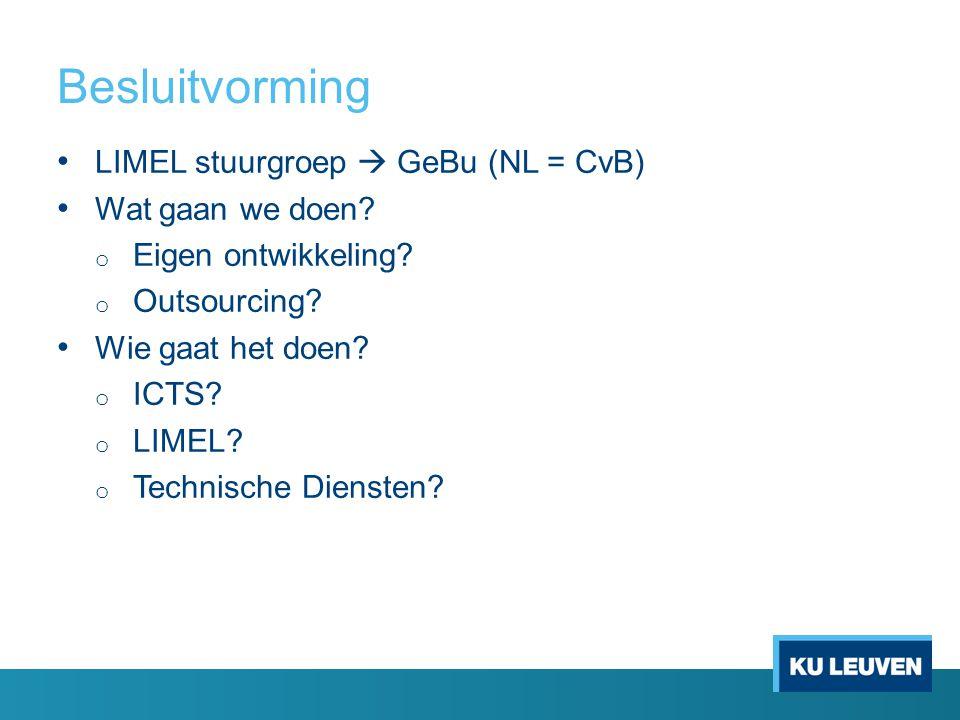 Besluitvorming LIMEL stuurgroep  GeBu (NL = CvB) Wat gaan we doen? o Eigen ontwikkeling? o Outsourcing? Wie gaat het doen? o ICTS? o LIMEL? o Technis