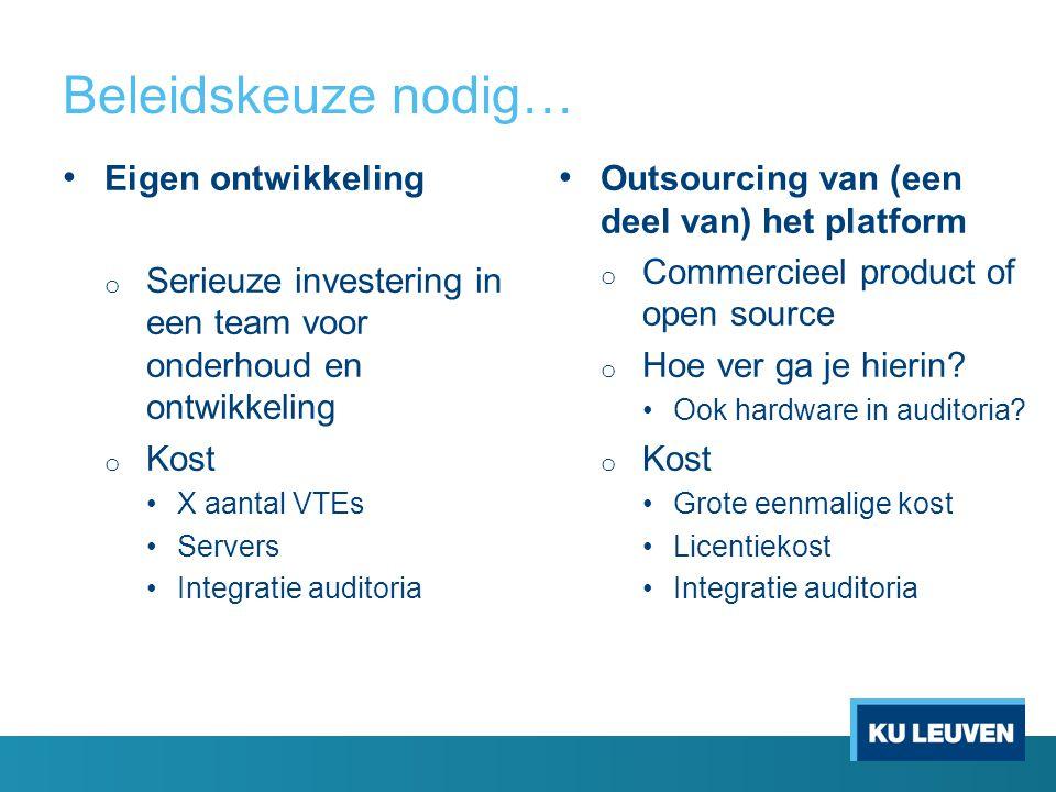Beleidskeuze nodig… Eigen ontwikkeling o Serieuze investering in een team voor onderhoud en ontwikkeling o Kost X aantal VTEs Servers Integratie auditoria Outsourcing van (een deel van) het platform o Commercieel product of open source o Hoe ver ga je hierin.