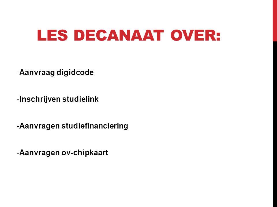LES DECANAAT OVER: -Aanvraag digidcode -Inschrijven studielink -Aanvragen studiefinanciering -Aanvragen ov-chipkaart