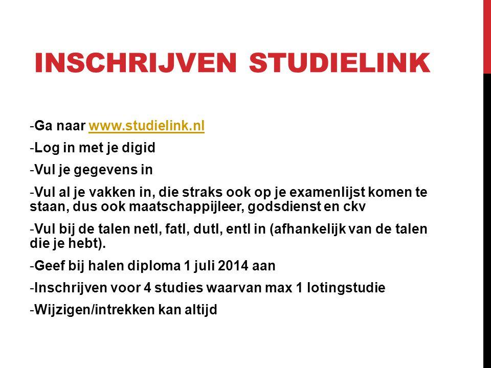 INSCHRIJVEN STUDIELINK -Ga naar www.studielink.nlwww.studielink.nl -Log in met je digid -Vul je gegevens in -Vul al je vakken in, die straks ook op je