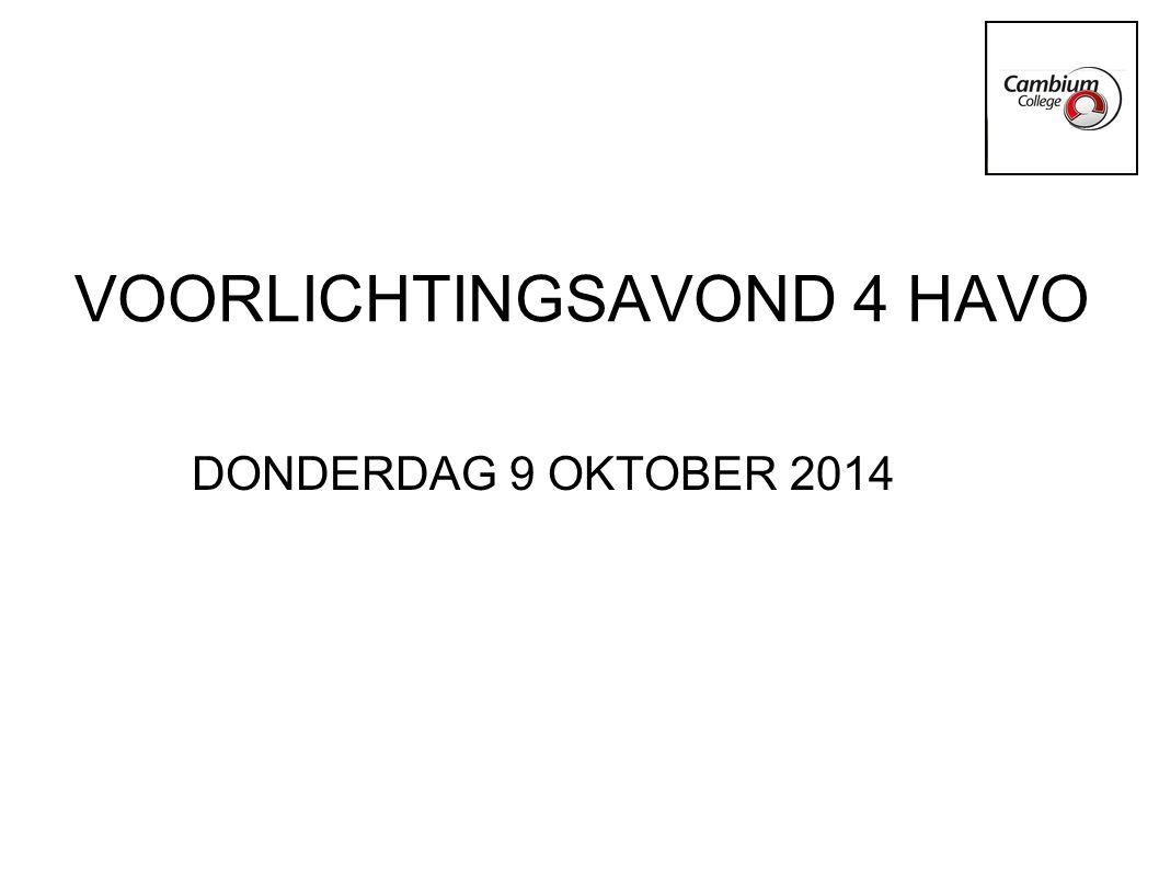 VOORLICHTINGSAVOND 4 HAVO DONDERDAG 9 OKTOBER 2014