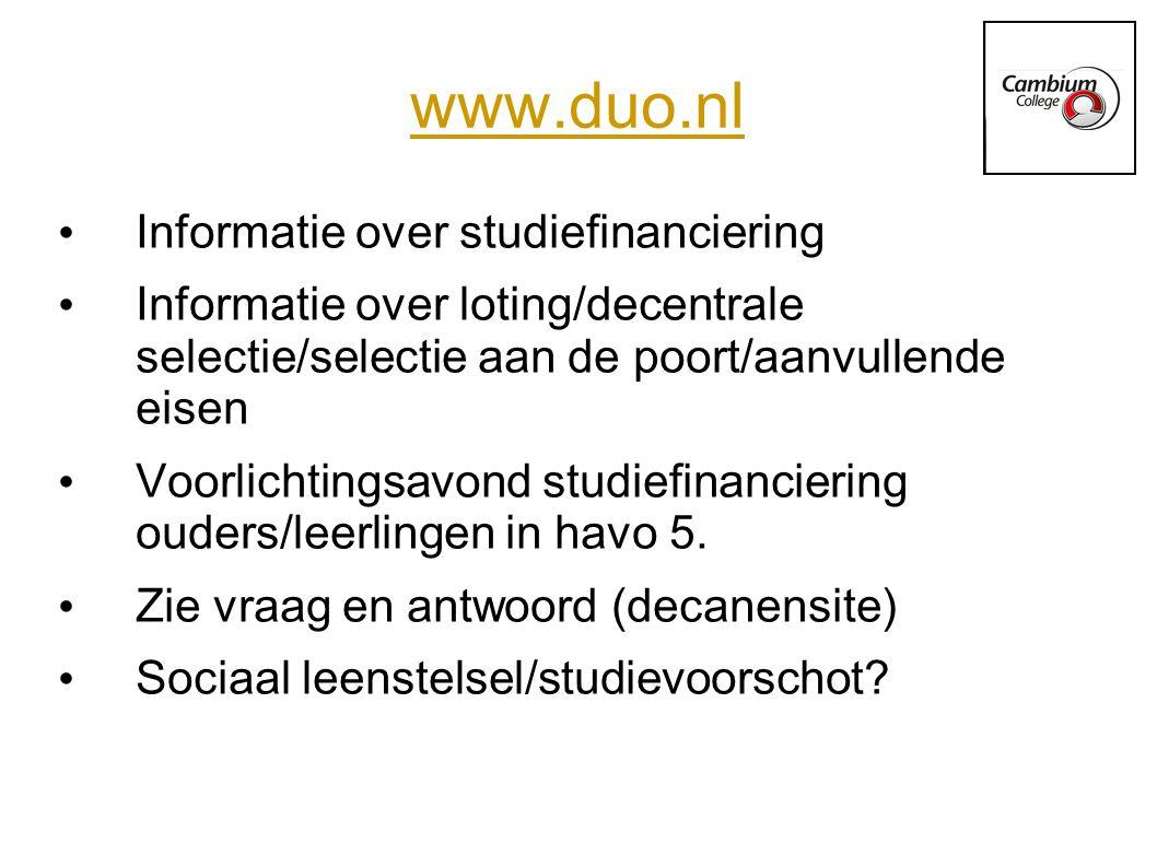 www.duo.nl Informatie over studiefinanciering Informatie over loting/decentrale selectie/selectie aan de poort/aanvullende eisen Voorlichtingsavond studiefinanciering ouders/leerlingen in havo 5.